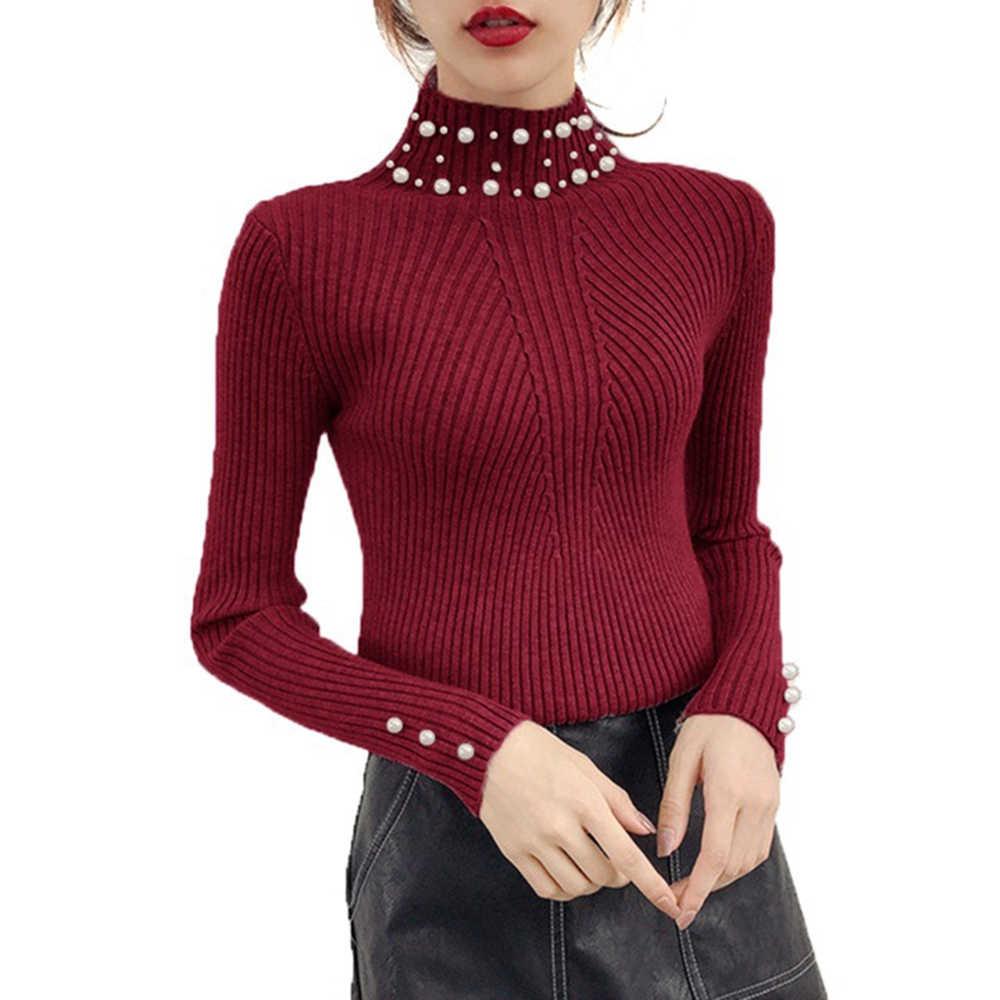Осенне-зимний вязаный свитер с жемчужинами и бусинами, женские пуловеры с высоким воротом, Повседневные свитера Harajuku, эластичные Сексуальные облегающие свитера с длинным рукавом