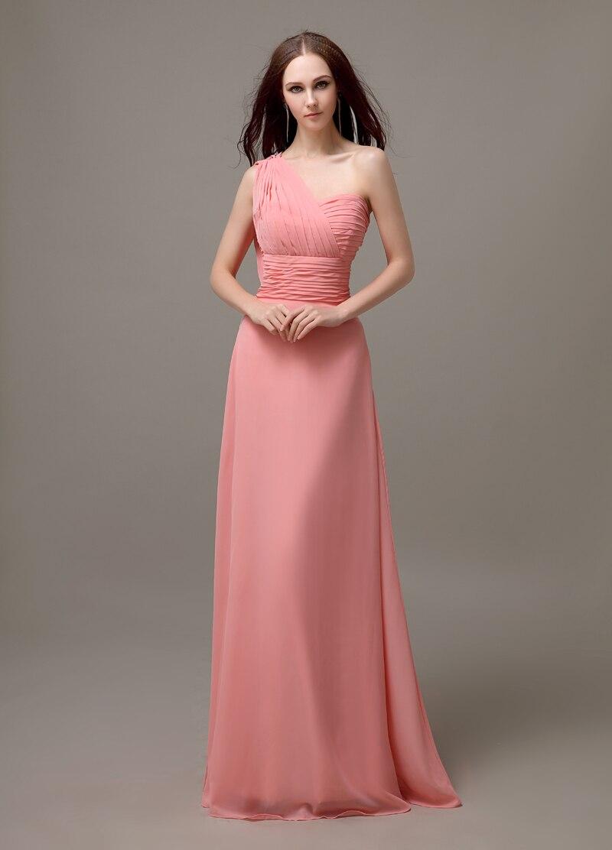 Simple vestido de dama de peach de un hombro largo de la gasa barato ...