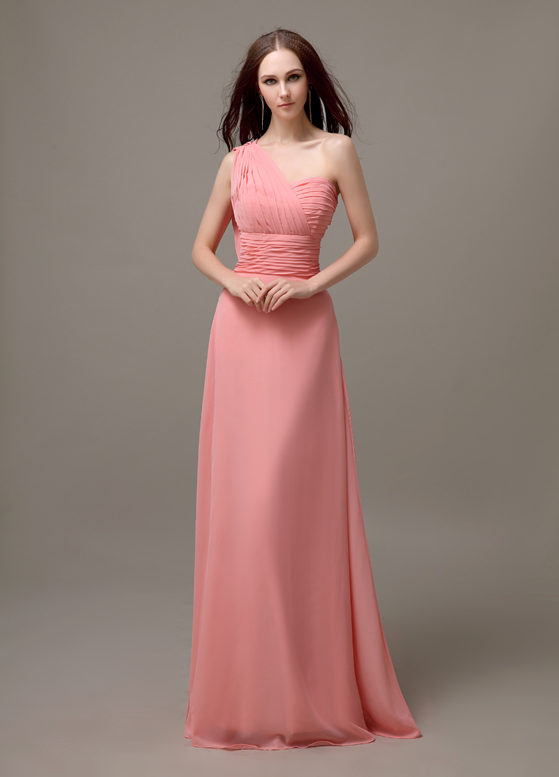 Peach One Shoulder Long Chiffon Simple Bridesmaid Dress Wedding Guest For Plus Size Hot Bd476 In Dresses From