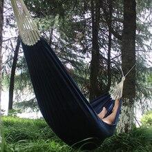Samibuluo portátil corda de algodão ao ar livre balanço tecido acampamento pendurado rede cama lona forte rede