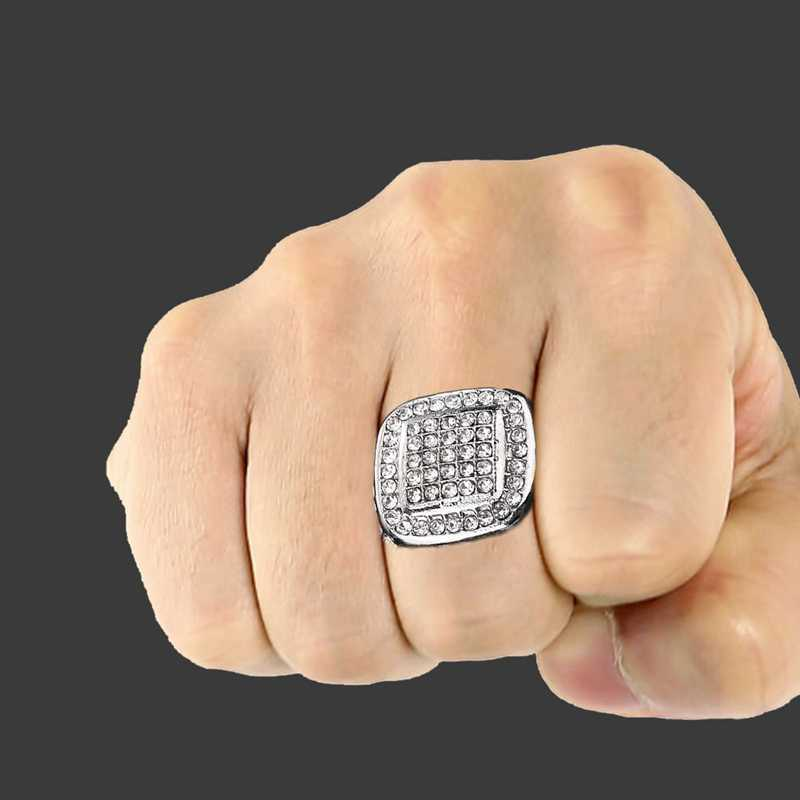 ... HIP Hop Bling Iced Out Square Crystal Ring Gold Color Stainless Steel  Wedding Rings For Men ... c464c9a96cb7
