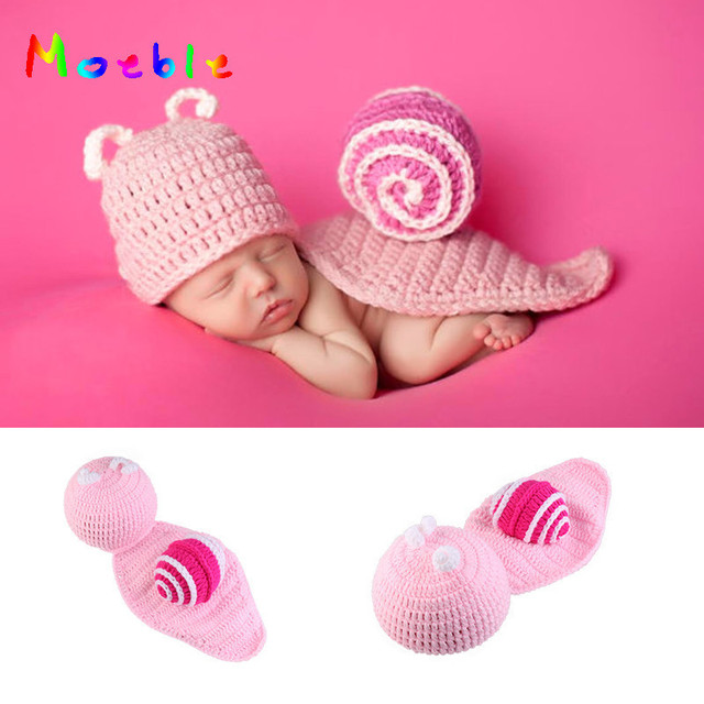 d23c404fcc168 US $8.04 40% OFF Pink Snail Newborn Photo Props Crochet Baby Animal Costume  for Photo Shoot Knitted Infant Hat Coming Home Outfits Baby Clothes-in ...