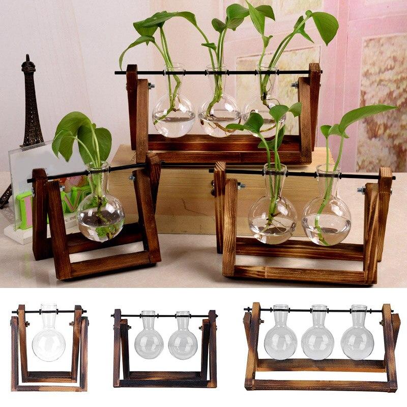 1 Pcs New Convenient Glass Vase Tabletop Hydroponics Plant Wooden Rack Transparent Home Garden Lxy9 Ma18 Convenience Goods Flower Pots & Planters