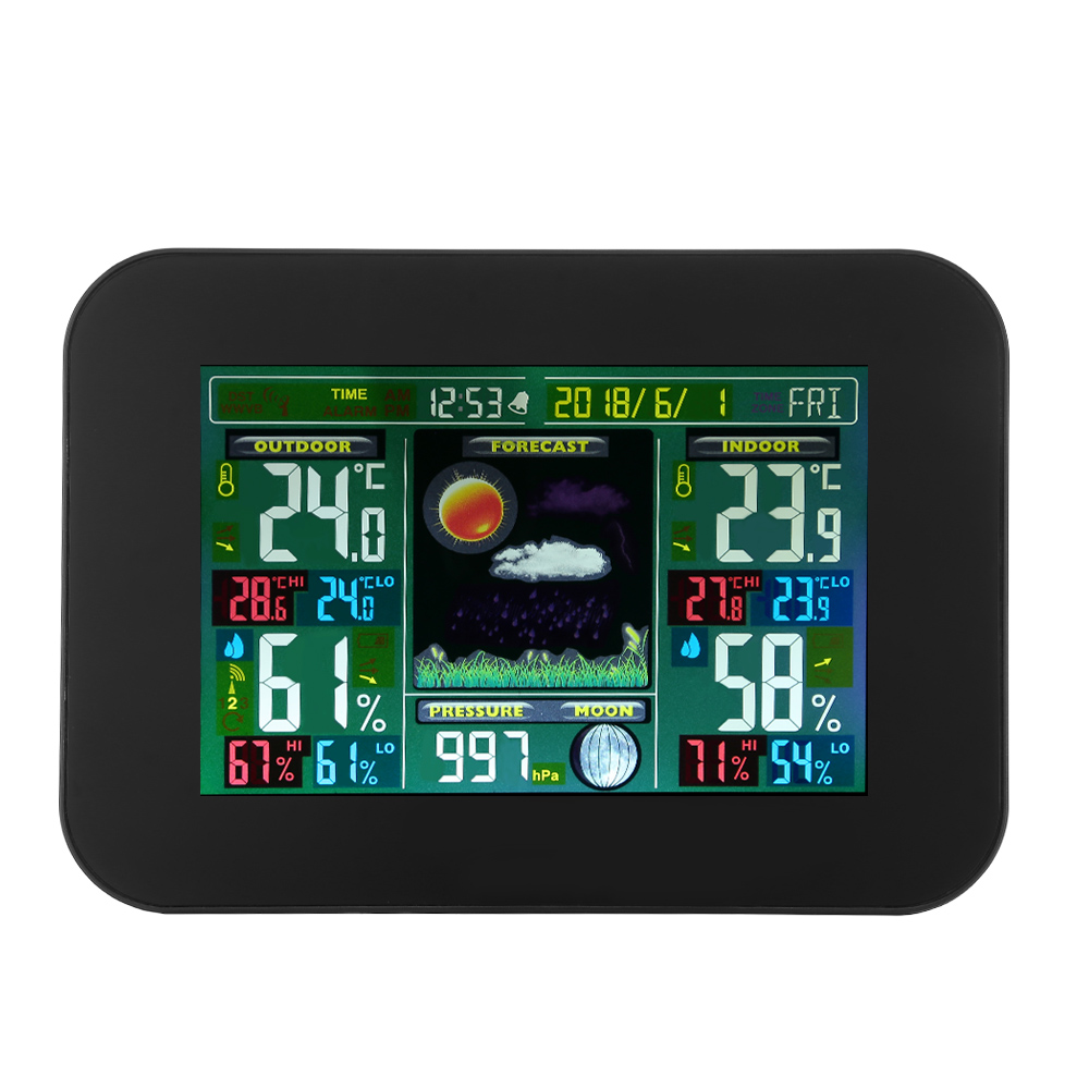 Color Digital Weather Station Forecast Clock Calendar Temperature Humidity Sensor LCD Display Alarm Clock With Remote Sensor