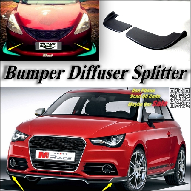 splitter diffuser bumper canard lip for audi a1 2010 2016. Black Bedroom Furniture Sets. Home Design Ideas
