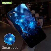 MOFI Smart Led Glow Telefon Fall Für iPhone 7 8 Plus Fällen Zurück Abdeckung Für Apple Tier Gemusterte Funda Luxus glas Silikon Capa