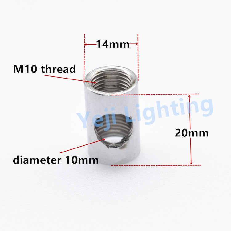 Tee koppeling iron onderdelen plafondlamp gezamenlijke lamp connector M10 draad tand buis pijp plafond luifel adapter voor led hanger lamp