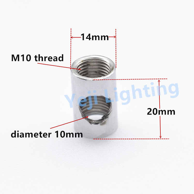 tee coupling iron parts ceiling lamp joint lamp connector M10 thread tooth tube pipe ceiling canopy adapter for led pendant lamp