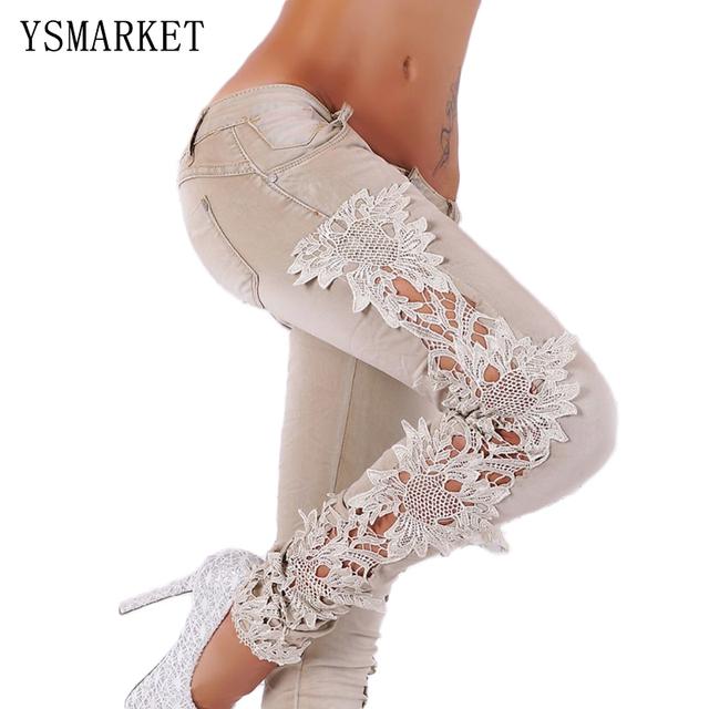 Calça Marrom Branco Folral Rendas Jeans Mulheres Femme Magro Denim Calças Mujer Jean Cintura Baixa Lápis Longo Calça Jeans com Buracos 00336