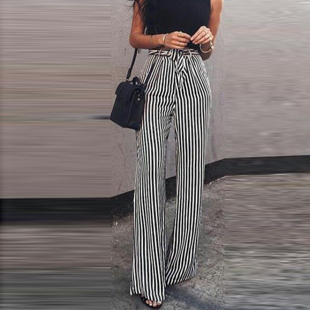 Striped   wide     leg     pants   harajuku streetwear Belted Palazzo trousers women High Waist OL Style   pants   pantalon femme pantalon 2018