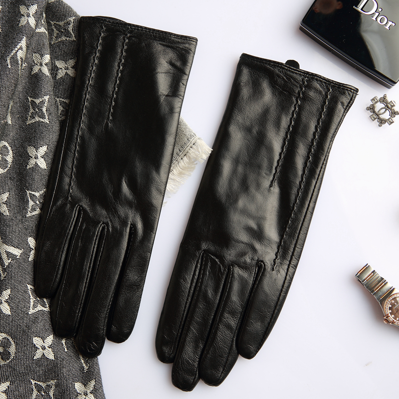 Genuine Leather Gloves Female Fashion Simple Lambskin Gloves Thin Spring Autumn Touchscreen Driving Woman's Mittens L17013