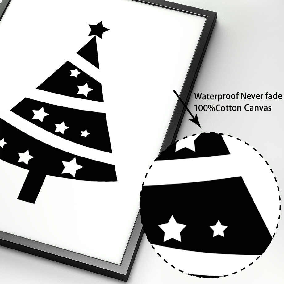 black white cartoon tent christmas tree wall art canvas painting nordic posters and prints wall pictures baby kids room decor painting calligraphy aliexpress aliexpress