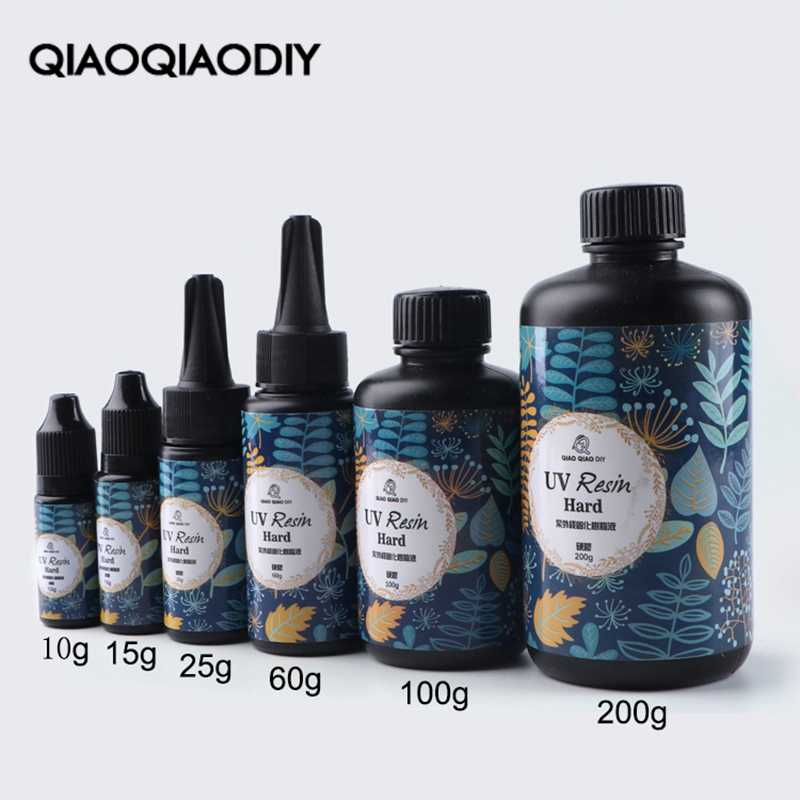 Qiaoqiaodiy hard uv resin Wholesale 6 Size DIY Fast Curing UV Clear Hard Resin For Making Jewelry Handicrafts epoxy resin