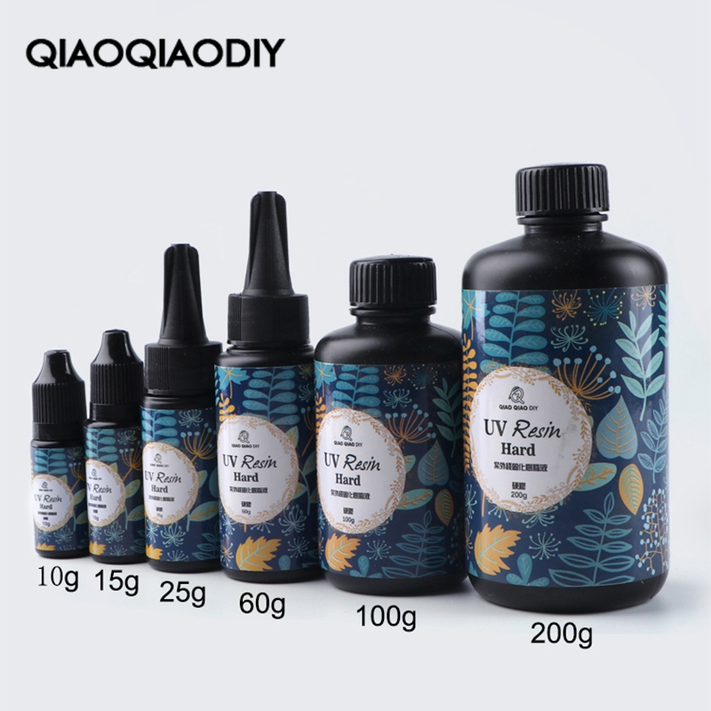 Qiaoqiaodiy hard uv resin Wholesale 6 Size DIY Fast Curing UV Clear Hard Resin For Making Jewelry Handicrafts epoxy resin title=