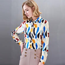 Silk Print Single Breasted Long Sleeve Blouse 2019 New Women Spring Straight Shirts