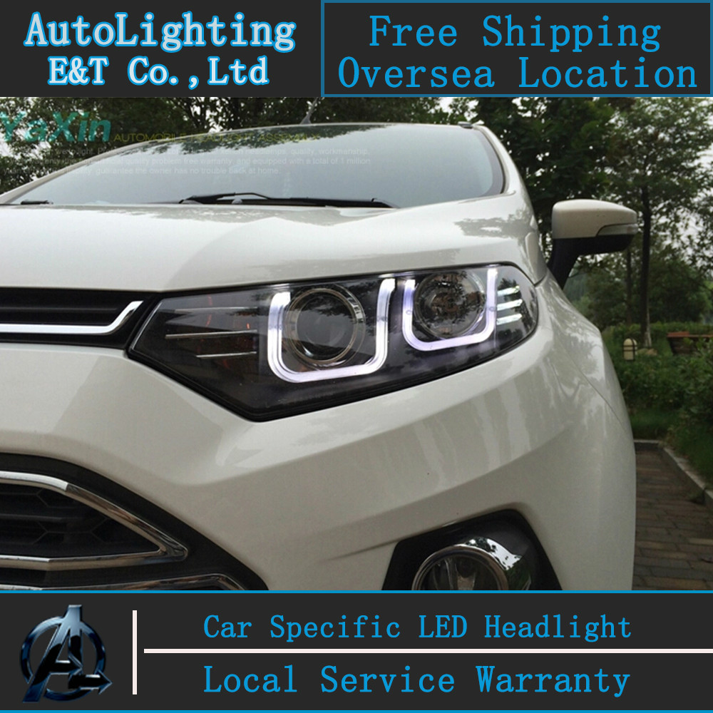 Car styling LED Head Lamp for Ford Ecosport led headlight assembly 2012-2014 angel eye led H7 with hid kit 2 pcs. car styling head lamp for chevrolet captiva headlight assembly 2008 2014 captiva led headlight led drl h7 with hid kit 2 pcs