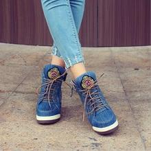 Women Comfortable Wedge Heels Denim Shoes