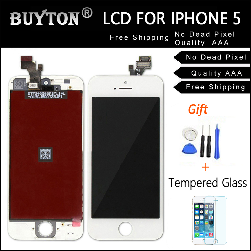 100% BUYTON No Dead Pixel Quality AAA For iPhone 5 5S LCD Assembly with Touch Screen ,LCD Screen White&Black Free Tool Kit