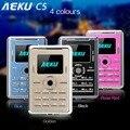 Aeku c5 5.5mm ultra delgado de bolsillo mini tarjeta telefónica gsm 2G Teléfono Móvil de Baja Radiación Saludable Bluetooth Tarjeta Mini Teléfono Del Niño