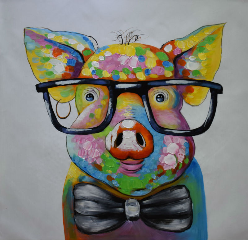 Hand Painted Abstract Cartoon Animal Oil Canvas Painting Happy Pig