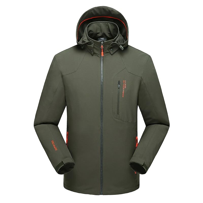 Men Hiking Jackets Big Size 5XL 6XL 7XL 8XL Soft Shell Outdoors Jackets Thin Breathable Detachable