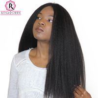 Kinky Straight Brazilian Remy Hair Natural Black Color Coarse Yaki 100 Human Hair Weaving Rosa Queen