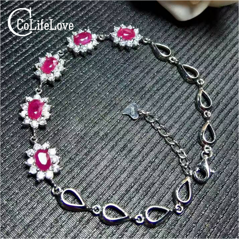Beautiful silver ruby bracelet 5 pcs natural blood red ruby bracelet solid 925 silver ruby bracelet luxurious gift for girl путь ruby