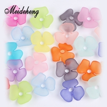 45PC 22mm Acrylic Plastic Translucent Frosted Three Petal Flower Beads Fit Jewelry DIY Craft Accessories For Needlework