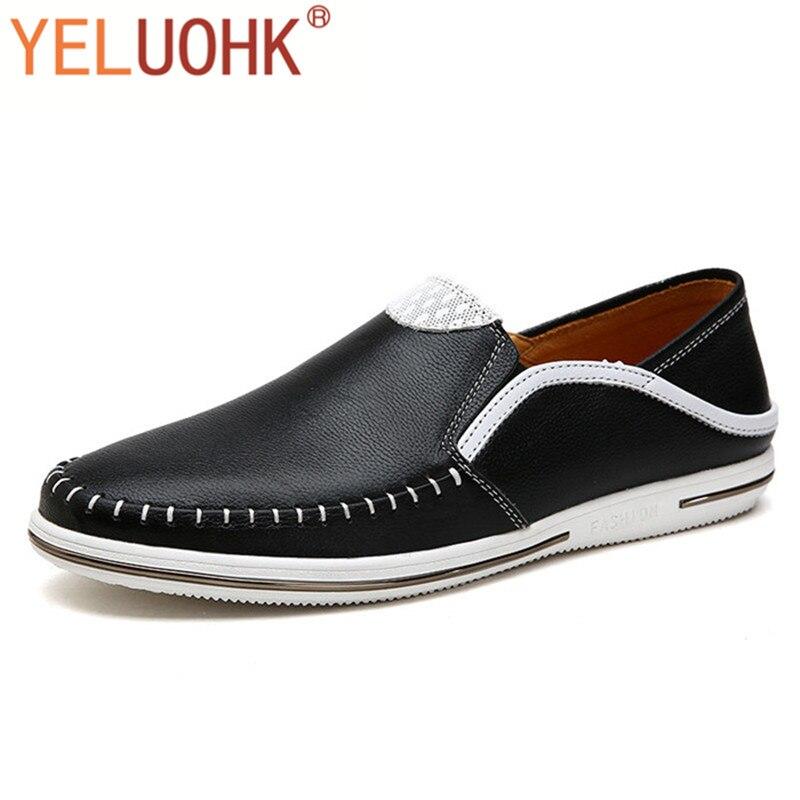 2017 Yeluohk Herbst Männer Faulenzer Echtem Leder Hohe Qualität Handgemachten Männer Schuhe Dauerhafte Modellierung