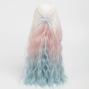 Image 4 - בובת פאות חום עמיד חוט ארוך עמוק מתולתל לבן ורוד כחול צבע שיער עבור 1/3 1/4 1/6 BJD/SD בובות