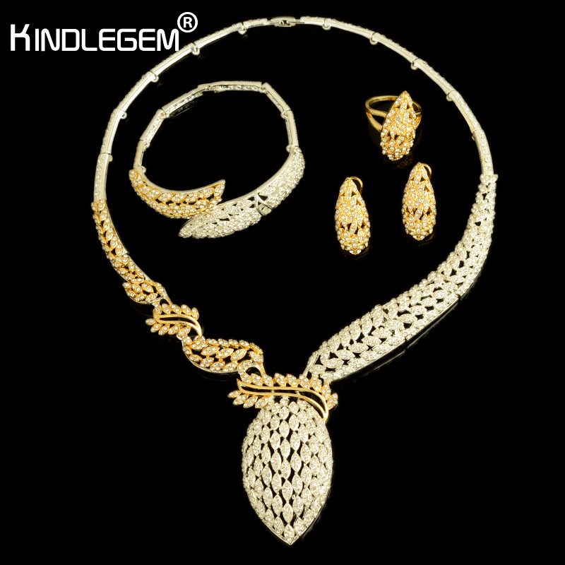 Kindlegem 2018 Hot Luxury Sparkling Full Rhinestone Zircon Necklace Earrings Bracelet Ring For Women Dubai African Jewelry Set a suit of charming red rhinestone bamboo necklace bracelet ring and earrings for women page 9