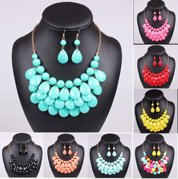 Acrylic Resin Beads Drop Chokers Statement Necklaces Multilayer Bib Bubble Necklace Earrings Jewelry Set  Jewellery Sets Collar