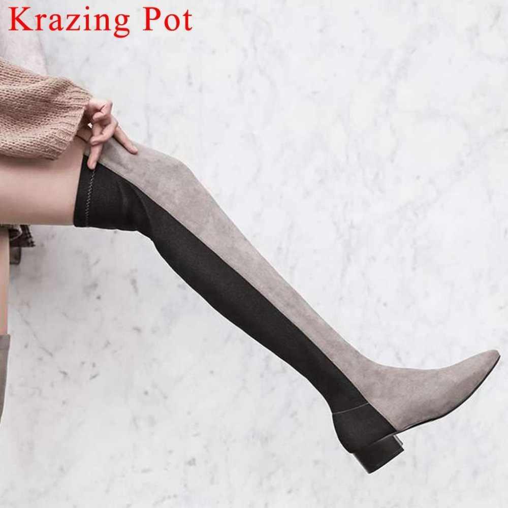 Krazing Pot/разноцветные узкие сапоги с острым носком на молнии на низком каблуке; красивые женские сапоги для свиданий; модель для подиума; стильные эластичные высокие сапоги до бедра; L95