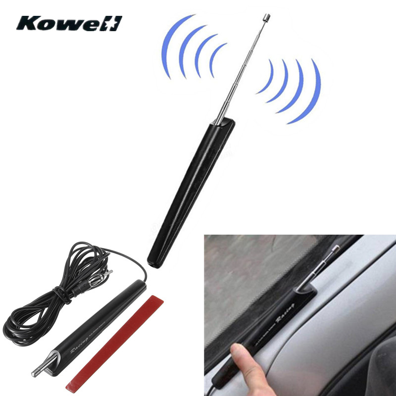 KOWELL 12-24v Universal Car Auto Retractable Roof AM/FM Radio Signal Antenna Aerial Extend for Lada for Volkswagen VW for KIA kowell fibreglass universal car auto roof fender radio antenna fm am signal booster amplifier aerials whip mast for vw for kia