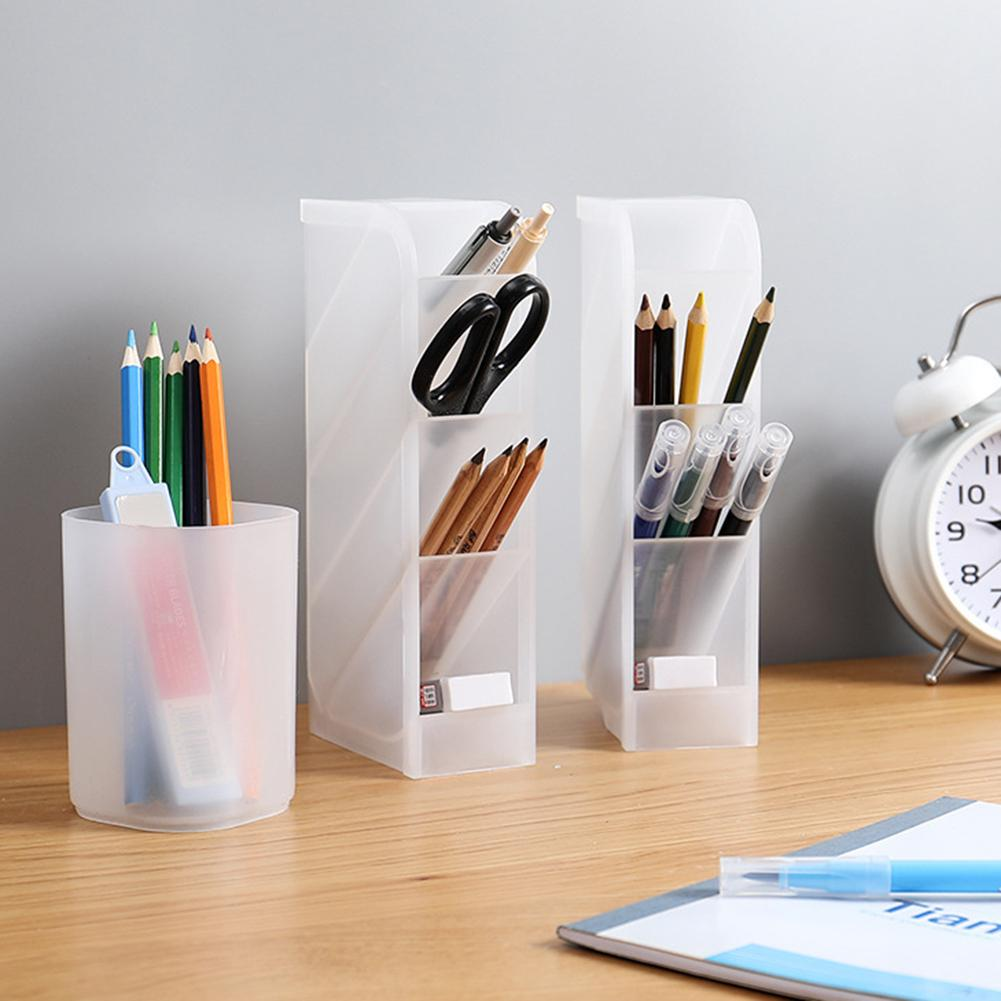 Desk Clear Pen Holder Tool Storage Box Lipstick Cosmetic Brush Makeup Organizer For Office Desktop Stationery