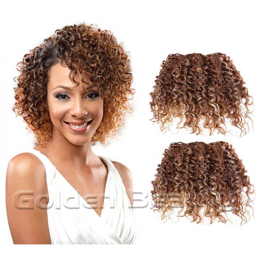 us $8.7 |2pcs/set 10inch brown gold color deep kinky curly wavy synthetic hair weft extensions for sew in weaving hair on aliexpress | alibaba