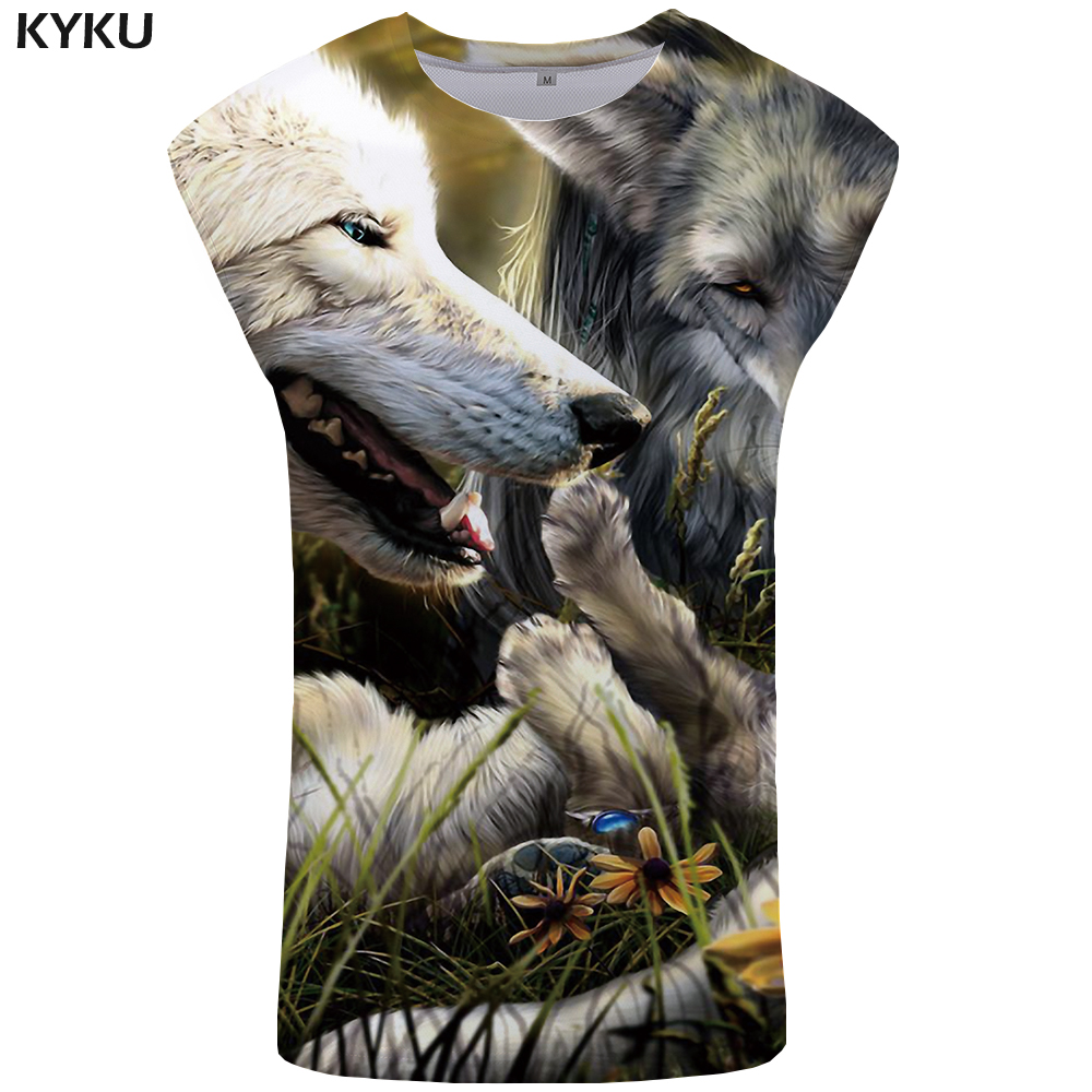 KYKU Brand Wolf   Tank     Top   Men Flower Vest Gothic Ftness Clothing Animal Undershirt Stringer Mens Sleeveless Shirt muscle Singlet