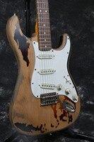 Hecho a mano puente tremolo hardware eged Relic guitarra eléctrica del ST cuerpo de aliso Rory Gallagher Firma envejecido guitarra