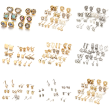 Female Exquisite Zircon Crystal Earrings Sets Simple Charms 6/9/12 Pcs/set Ear Jewelry For Women Casual Party Creative