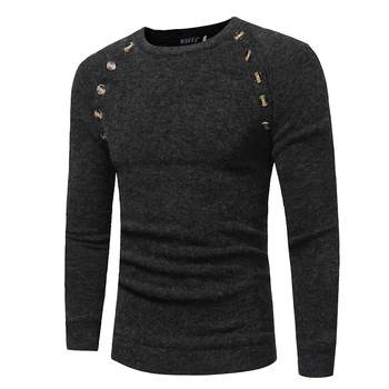 Men's Button Stitching Solid Color Slim Fit Long-sleeved Sweater