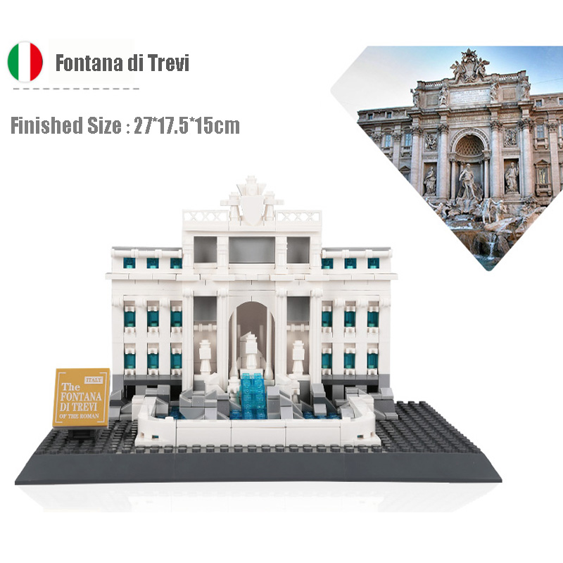 World Famous Architecture Italy Roman Fontana di Trevi Trevi Fountain Model Building Blocks Bricks Educational Toy For Kids Gift mr froger loz diamond block easter island world famous architecture diy plastic building bricks educational toys for children