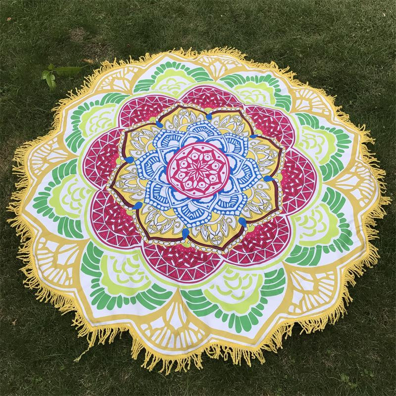Women Chic Tassel Indian Mandala Tapestry Lotus Printed Bohemian Beach Mat Yoga Mat Sunblock Round Bikini Cover-Up Blanket 6
