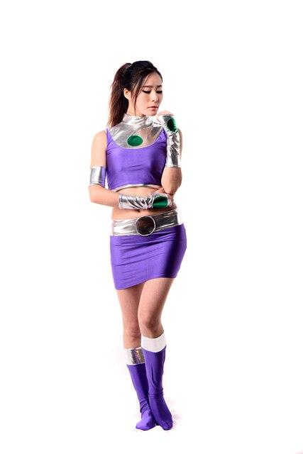 SUP128Lycra Spandex Shiny Metallic Sexy DC Starfire Female Superhero Costume Cosplay Zentai Halloween