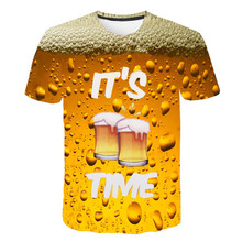 цена New Men Beer Print T-shirts Pop Orange Beer Mug Bar 3D Printing Europe Male Summer Crew Neck Short Sleeve Party Quick Dry Tees онлайн в 2017 году