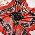 90 cm * 90 cm A nova cadeia cinto splicing mulheres H primavera lenços de seda grande lenço quadrado