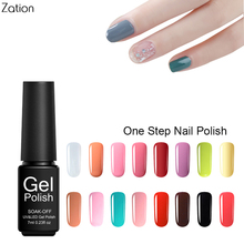 Zation 7ml 3in1 One Step Gel Nail Polish LED UV Soak off Nail Art Gel Polish Foil Adhesive Professional Gel Lacquer