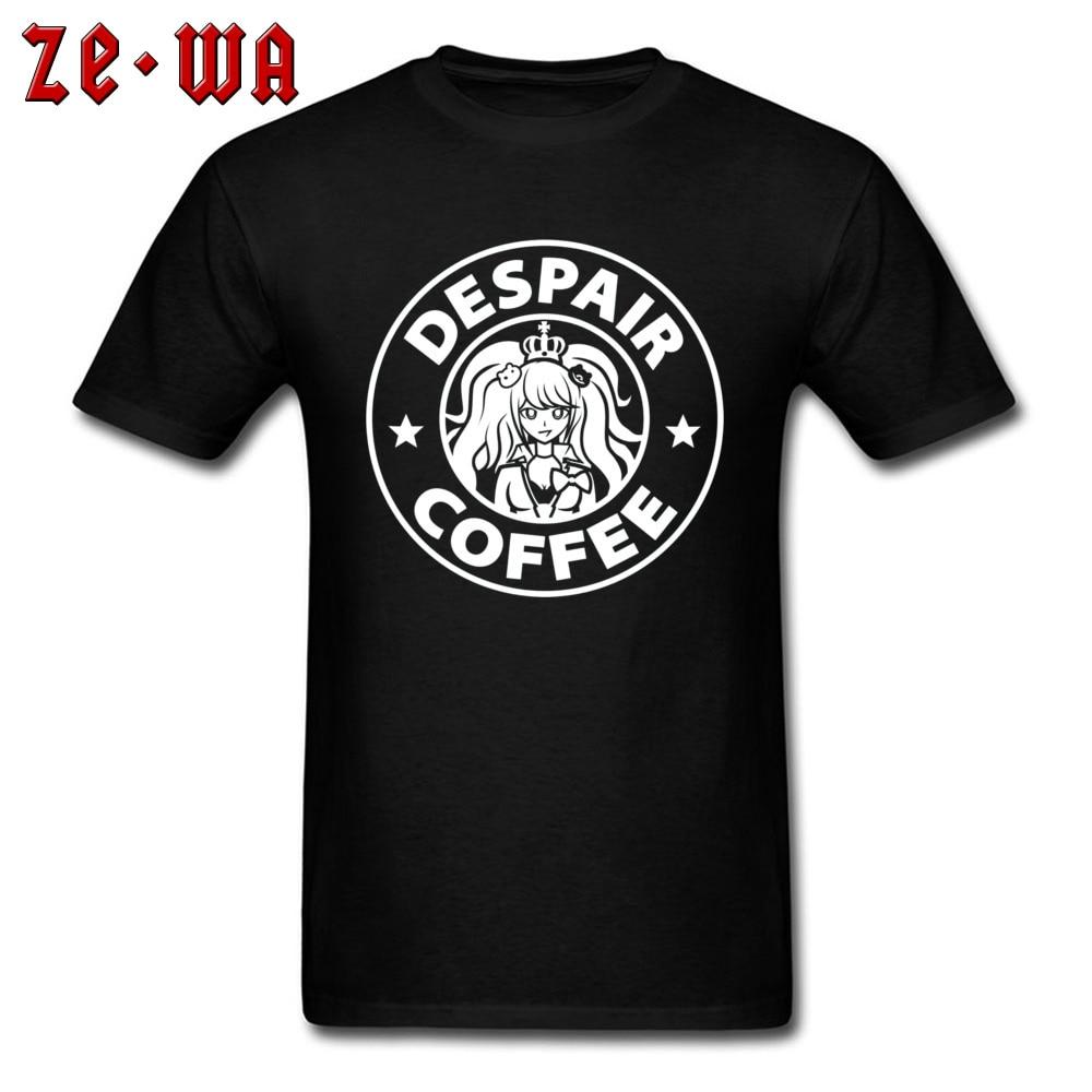 Anime T-shirt 2019 Men Tshirt Despair Coffee Danganronpa Zero Tops & Tees Black White Cotton T Shirts Japanese Horror Comics