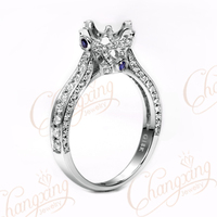 6 3mm Round Cut 18k White Gold Natural 0 67ct Diamond Sapphire Semi Mount Ring