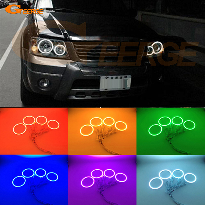 For FORD ESCAPE 2005 2006 2007 Excellent Angel Eyes Multi-Color Ultra bright RGB LED Angel Eyes kit Halo Rings super bright led angel eyes for bmw x5 2000 to 2006 color shift headlight halo angel demon eyes rings kit