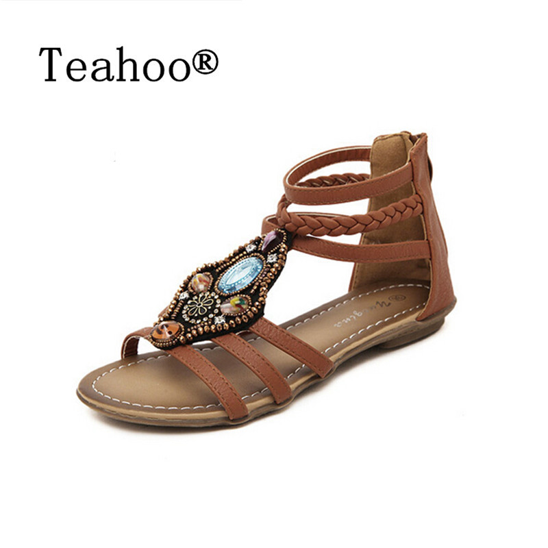 SUMMER STYLE Nation Flat Sandals Shoes Women 2017 Rome Fashion Trend Sandals Bohemia National Flat Heel Beaded Female Shoes Lady 2016 fashion summer women flat beaded bohemia ppen toe flat heel sweet women students beach sandals o643